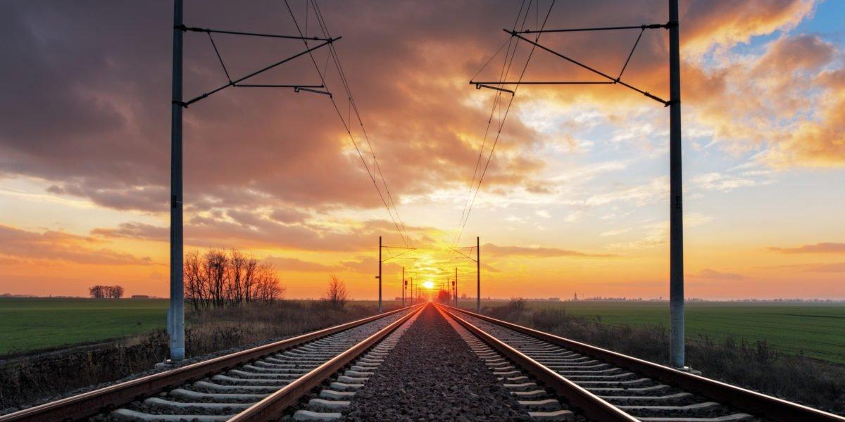 Railrway at sunset