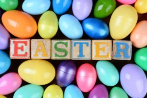 Easter Blocks and Plastic Eggs