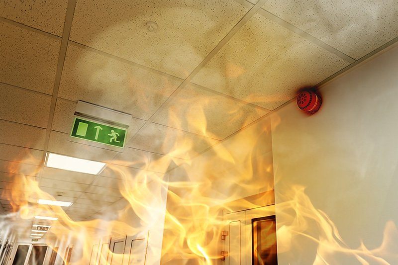 a fire in a modern office building