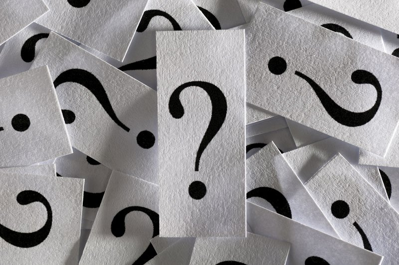 question marks on cards