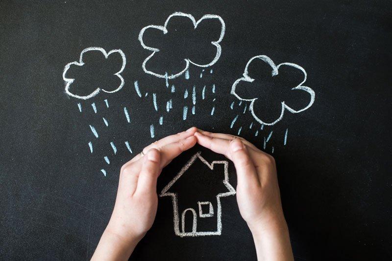 house under rain