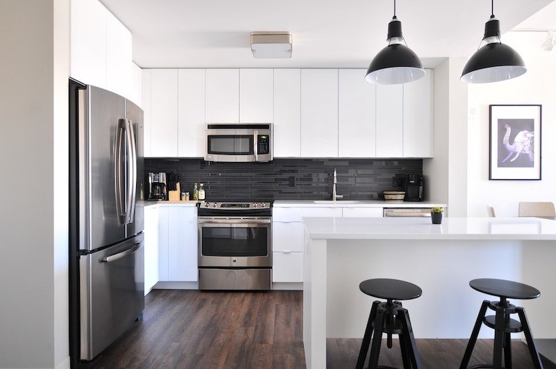 a black and white kitchen