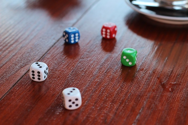 board game dice on a table