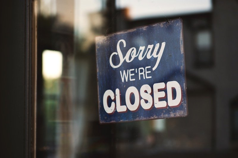 a business sign closed